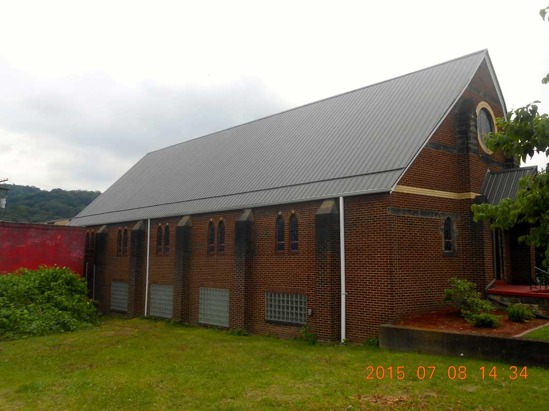 Metal roofing on church